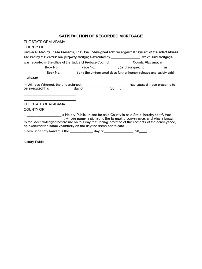 Satisfaction of Mortgage Form - 13 Free Templates in PDF, Word ...