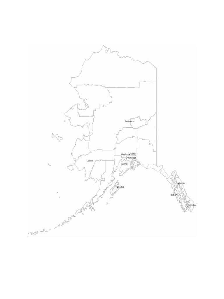 Map of Alaska Cities with City Names