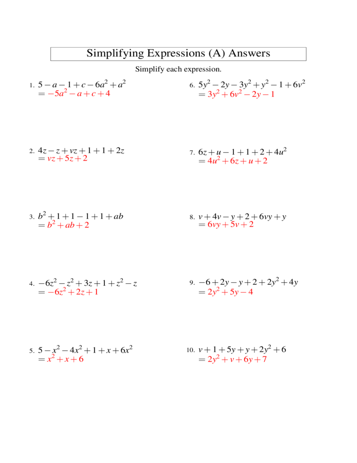 Worksheet 12241584 Addition of Algebraic Expressions Worksheets – Simplify Expressions Worksheet