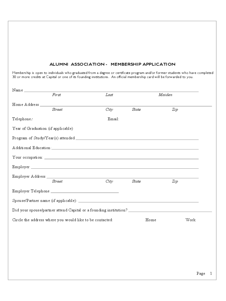 Alumni Association   Membership Application  Membership Forms Templates