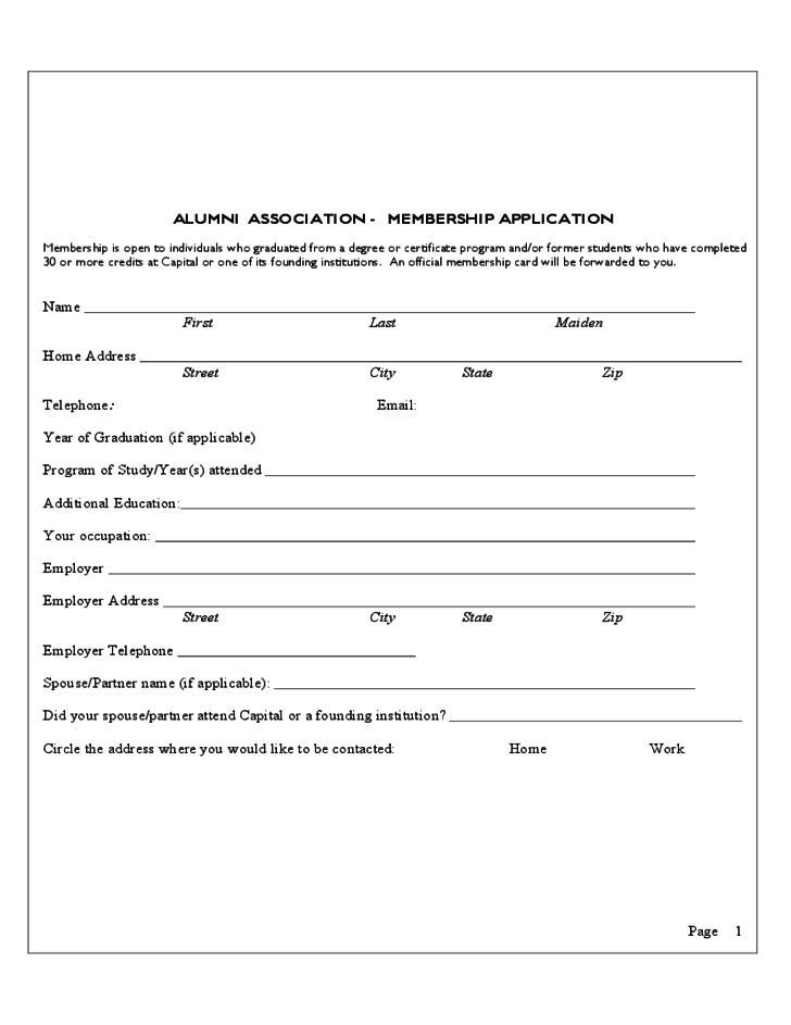 Alumni Association Membership Application Free Download