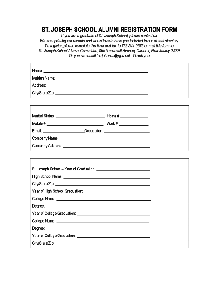 St joseph school alumni registration form free download for High school registration form template