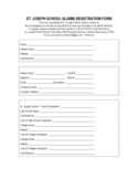 St. Joseph School Alumni Registration Form Free Download