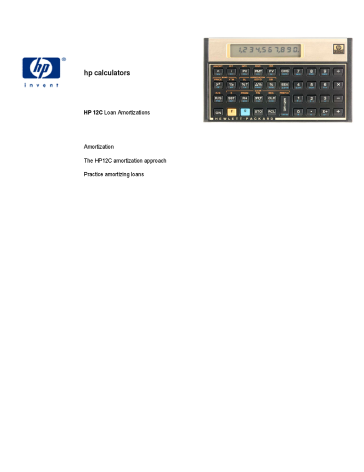 HP 12C Loan Amortizations