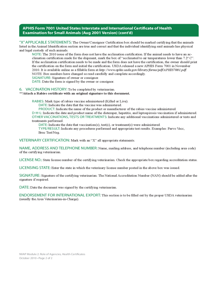 United States Interstate And International Certificate of Health Examination for Small Animals