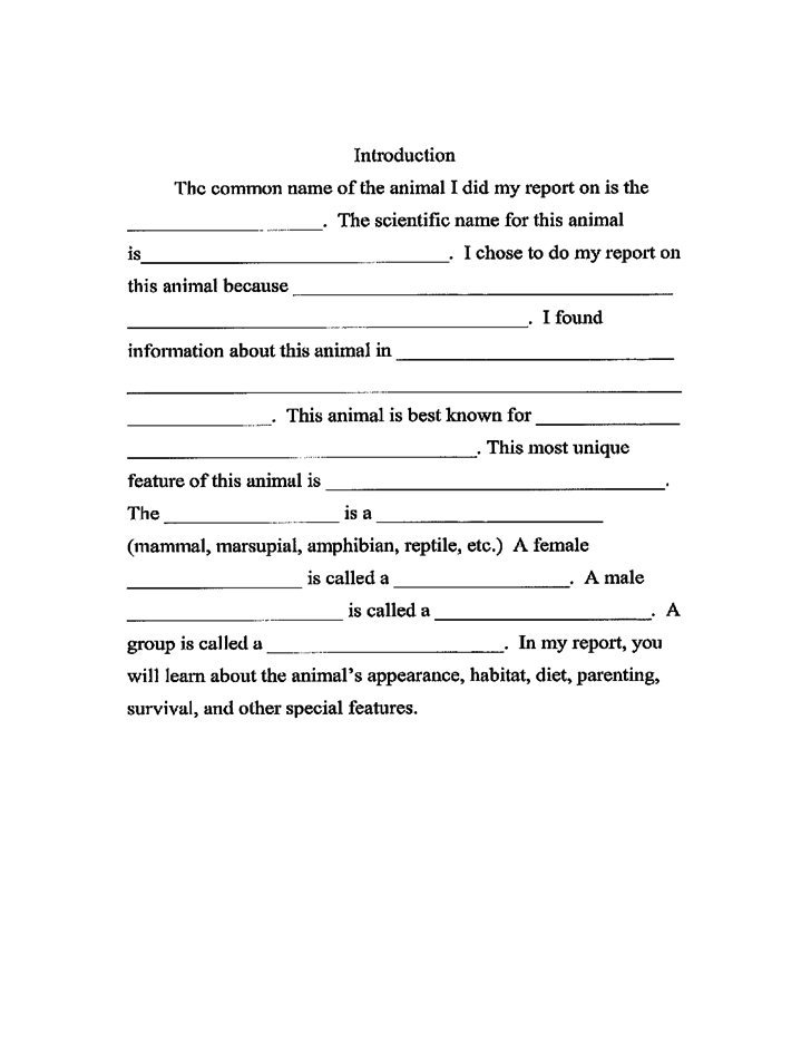 3rd Grade Animal Report Template