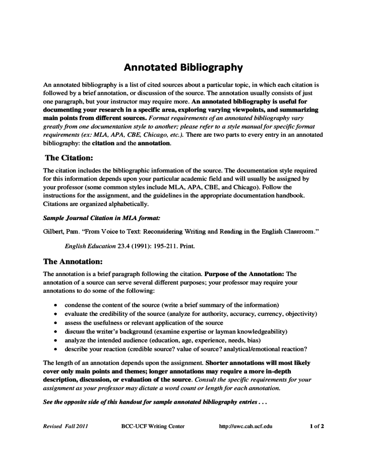 sample annotated bibliography free download