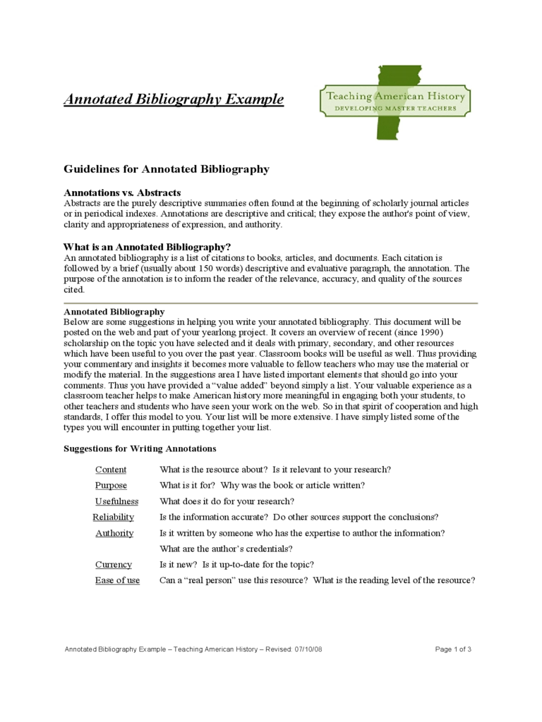 Sample Annotated Bibliography Example Free Download
