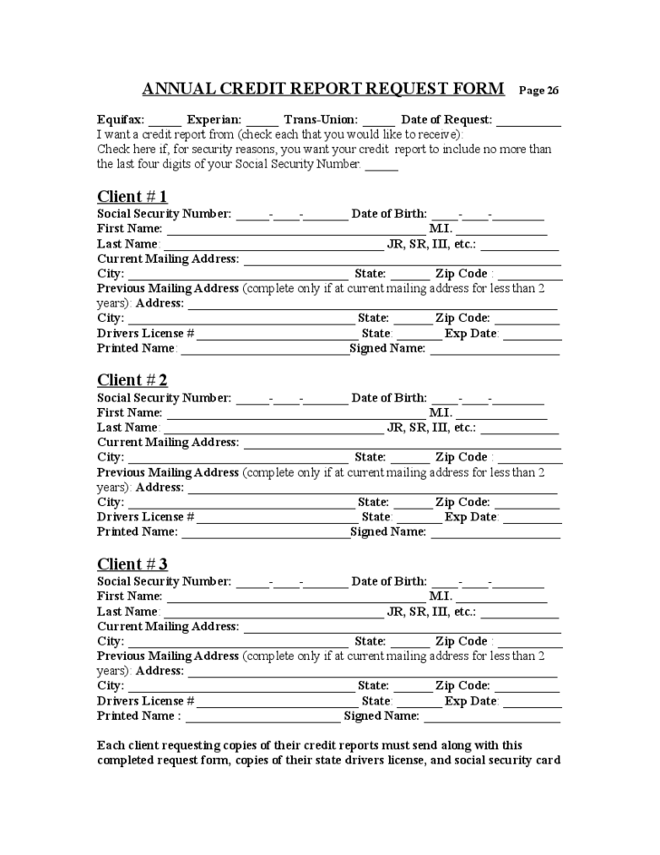 Sample Annual Credit Report Forms