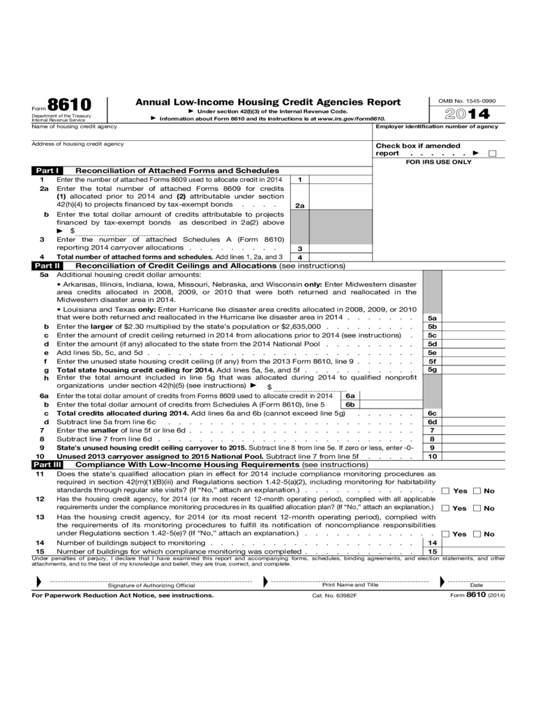 Form 8610 - Annual Low-Income Housing Credit Agencies Report (2014)