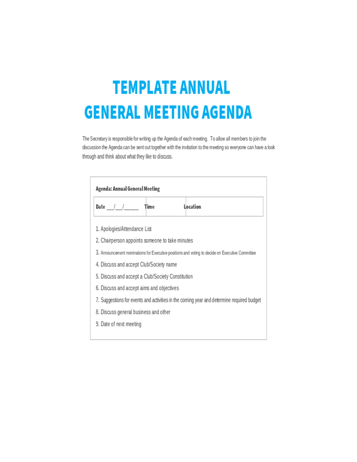 Template annual general meeting agenda free download for Minutes of shareholders meeting template