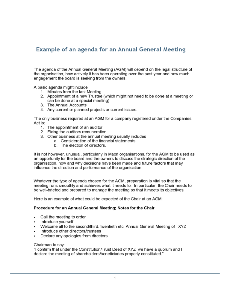 Example of an agenda for an Annual General Meeting