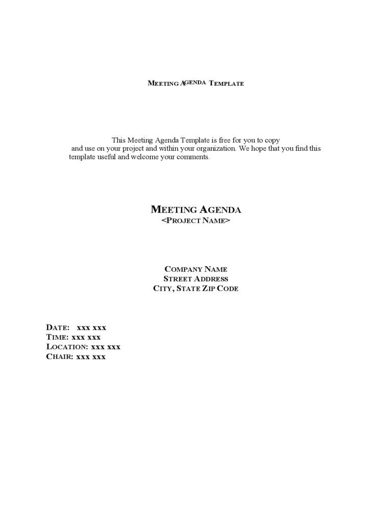 examples of agenda for meetings