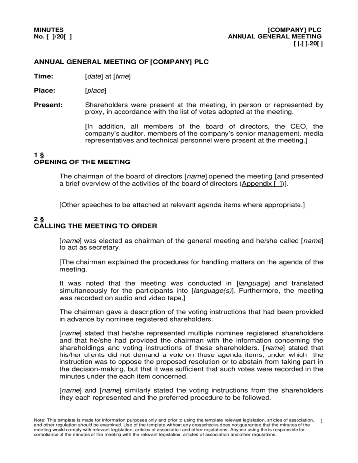 Annual general meeting agenda sample free download for Annual corporate minutes template free