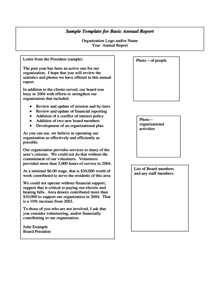 Sample Template For Basic Annual Report Free Download