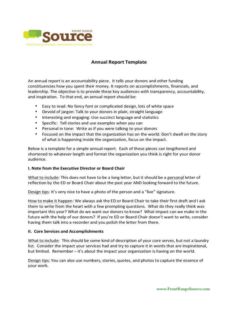 Sample Annual Report Template
