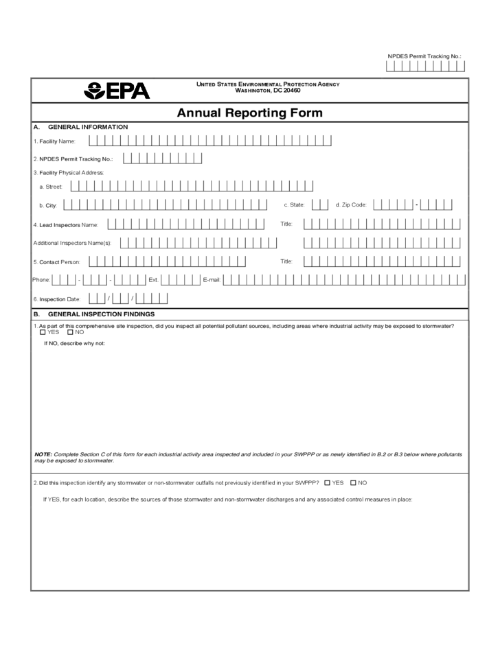 Annual reporting form environmental protection agency for Environmental protection plan template