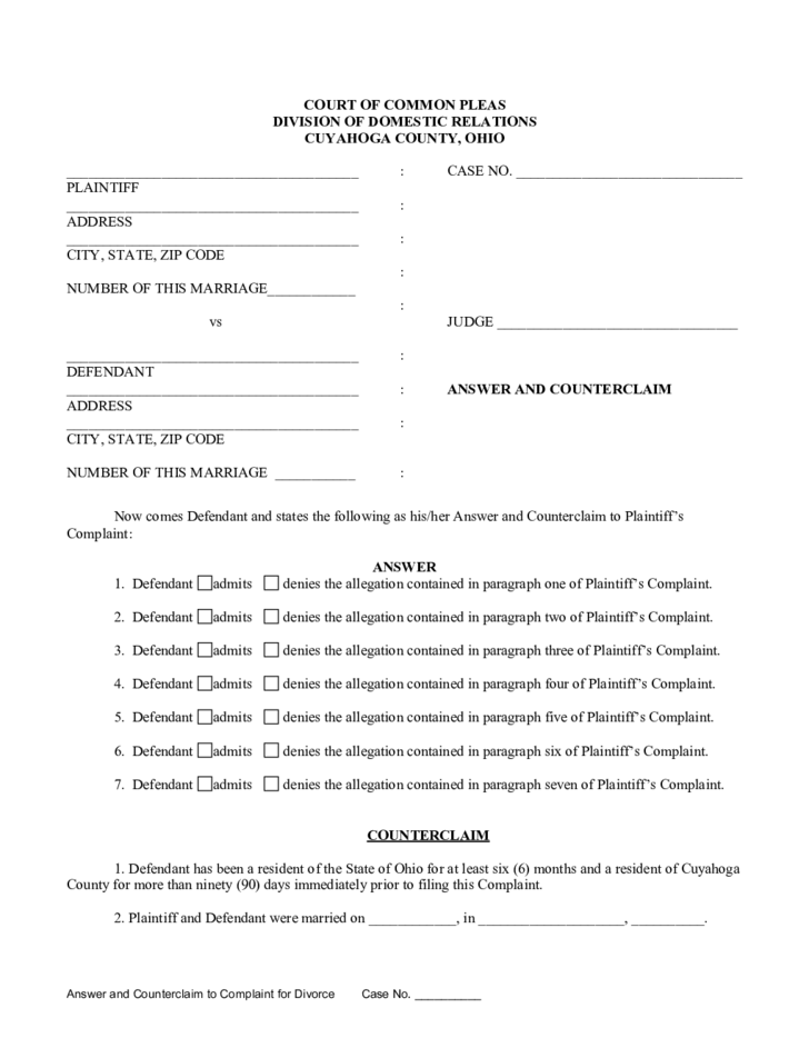 answer and counterclaim to complaint for divorce