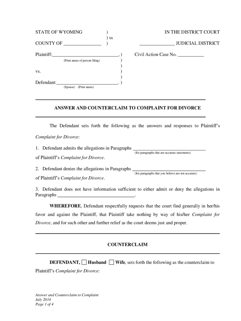 Answer and Counterclaim to Complaint for Divorce - Wyoming