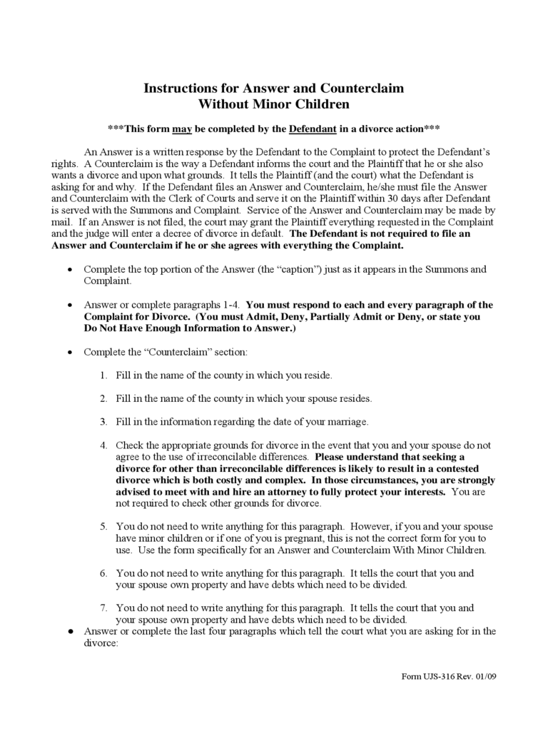 Instructions for Answer and Counterclaim Without Minor Children