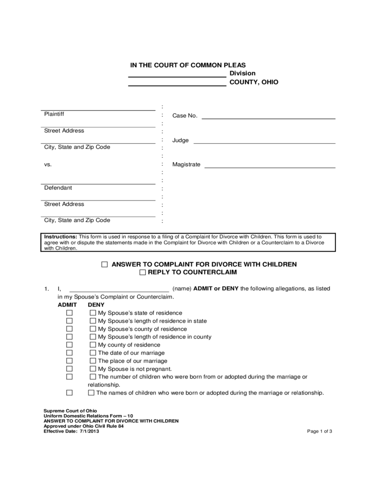 ohio answer to complaint for divorce with children free download