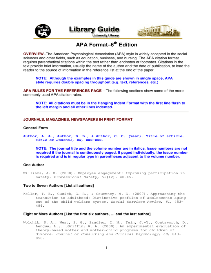 sample apa format template free download