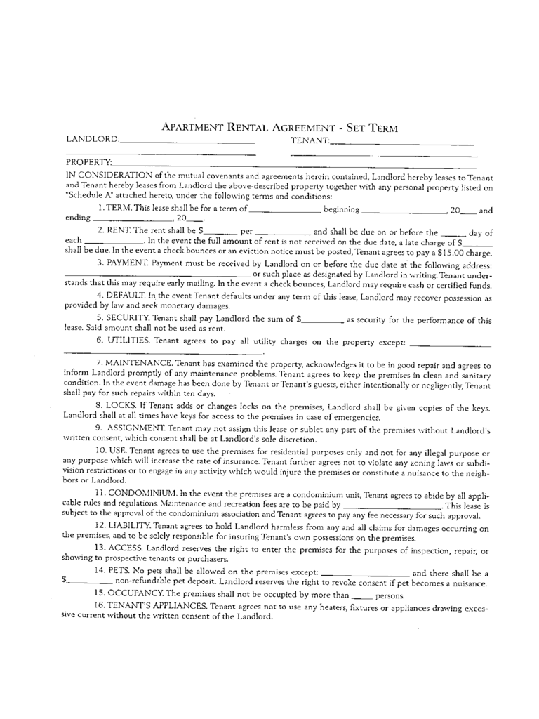 Apartment Rental and Lease Sample Form