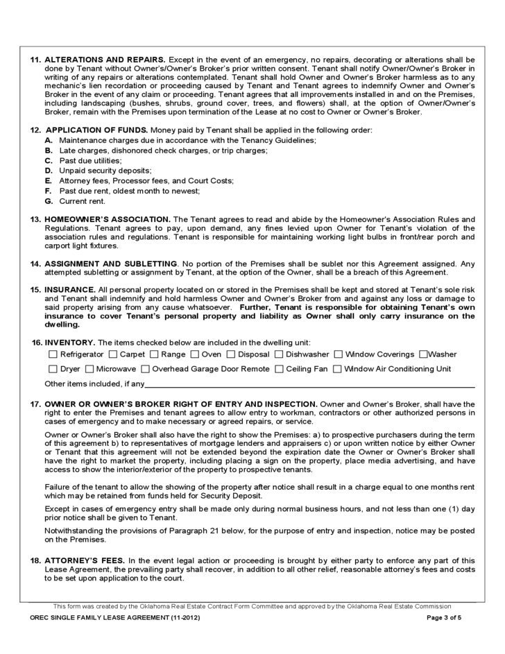 Oklahoma Residential Lease Form