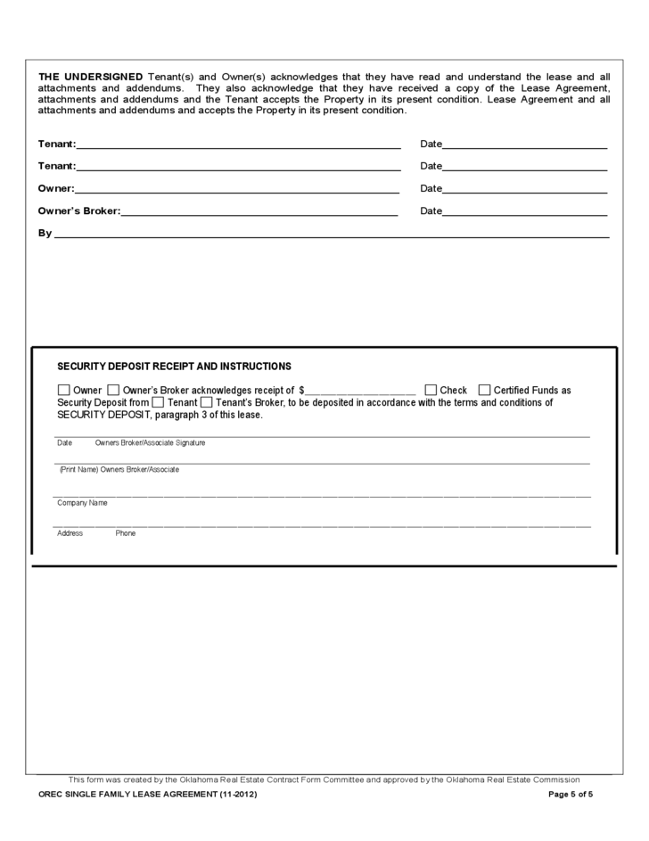 Oklahoma Residential Lease Form Free Download