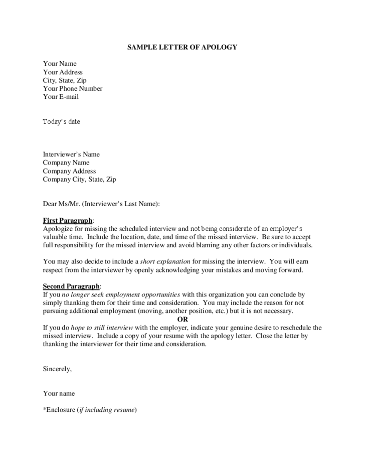 sample letter of apology free download