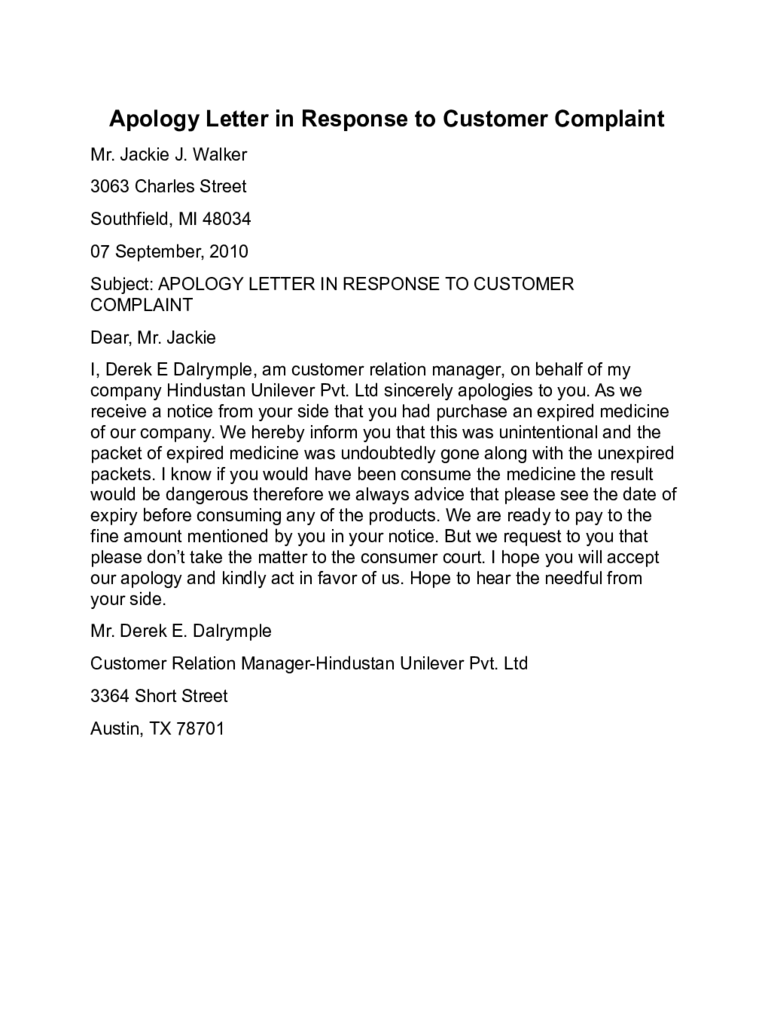 Apology letter template 15 free templates in pdf word for Customer response letter templates