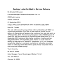 Apology Letter for Wait in Service Delivery Sample Free Download