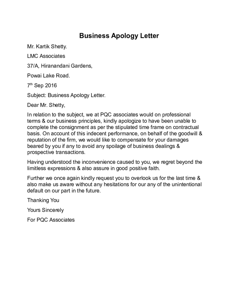 Formal Letter | Sample | Template | Layout Sample Apology Letter For  Inconvenience, How To Write, Letter Of Apology, Format, Template, Example,  Apology ...