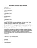 Business Apology Letter Example Free Download
