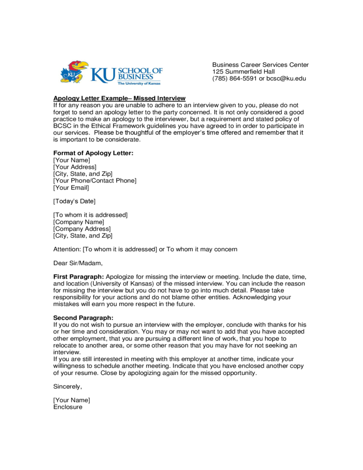 Apology Letter Example University of Kansas Free Download