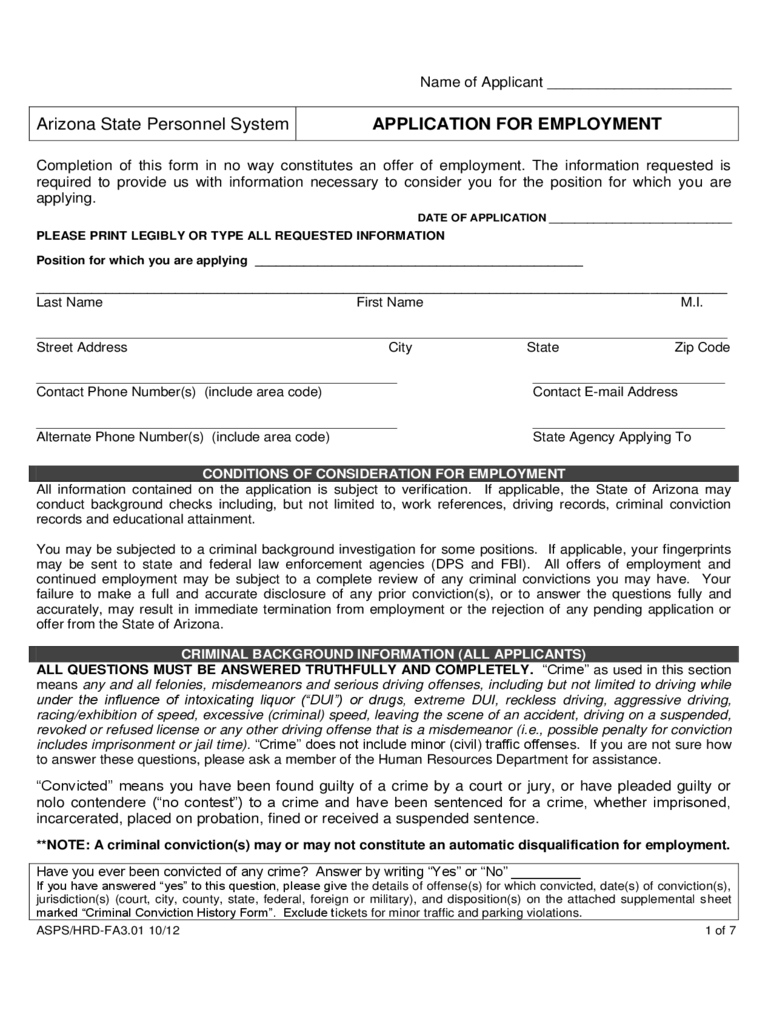 Application for Employment - Arizona
