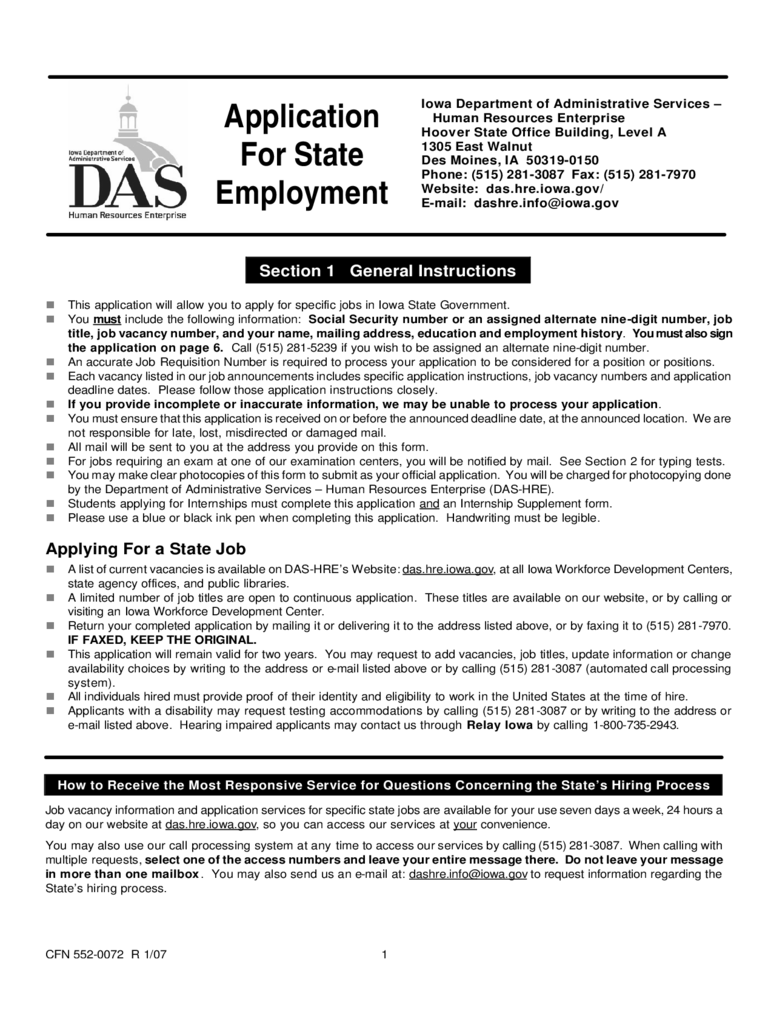 Application for Employment - Iowa