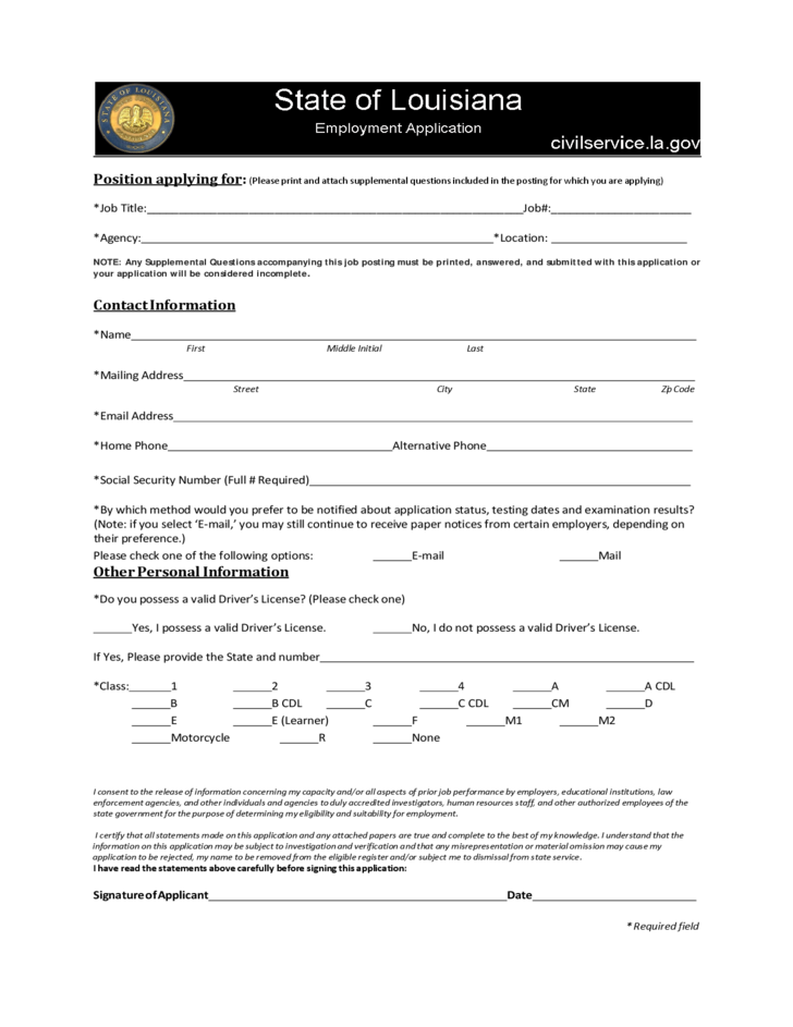 state of louisiana employment application free download