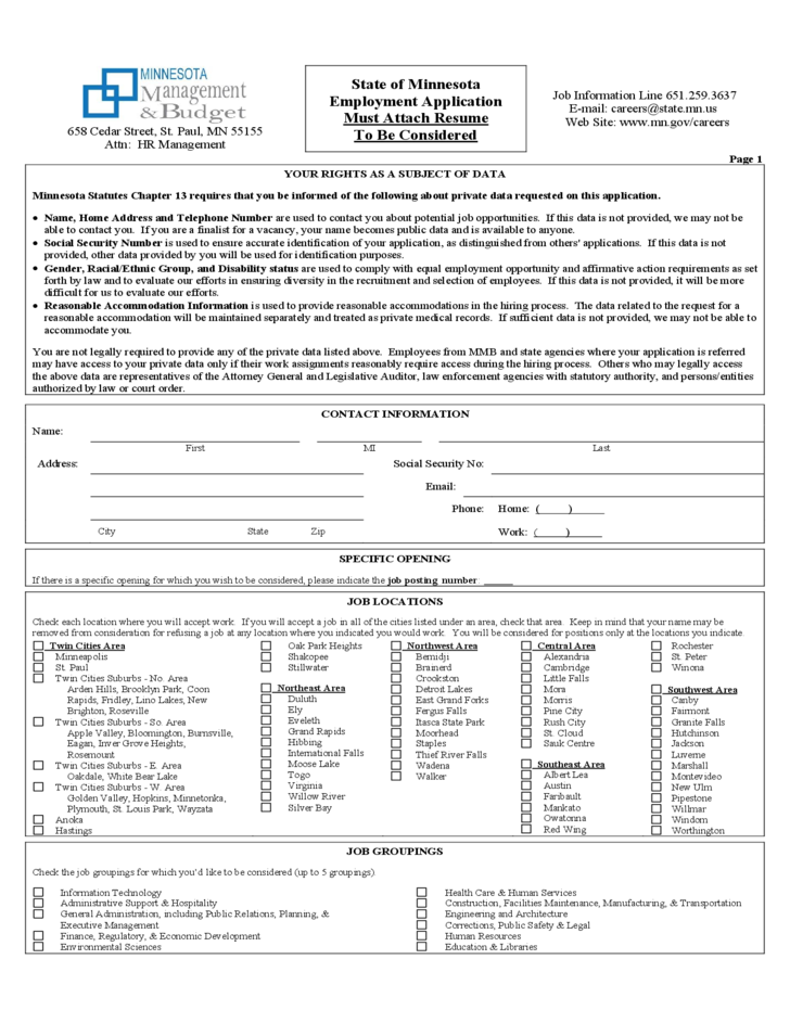 state of minnesota employment application free download