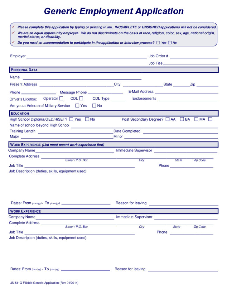 Generic Employment Application Form Printable Online Pictures to pin ...