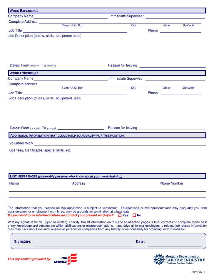 Generic Employment Application - Montana Free Download