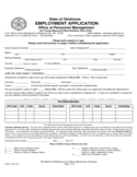 Application for Employment Form - Oklahoma