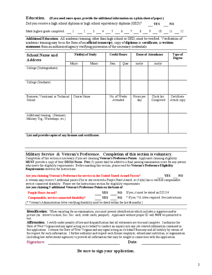 Application for Examination Instructions - West Virginia