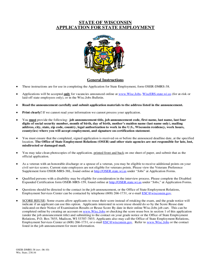 application for employment wisconsin free download