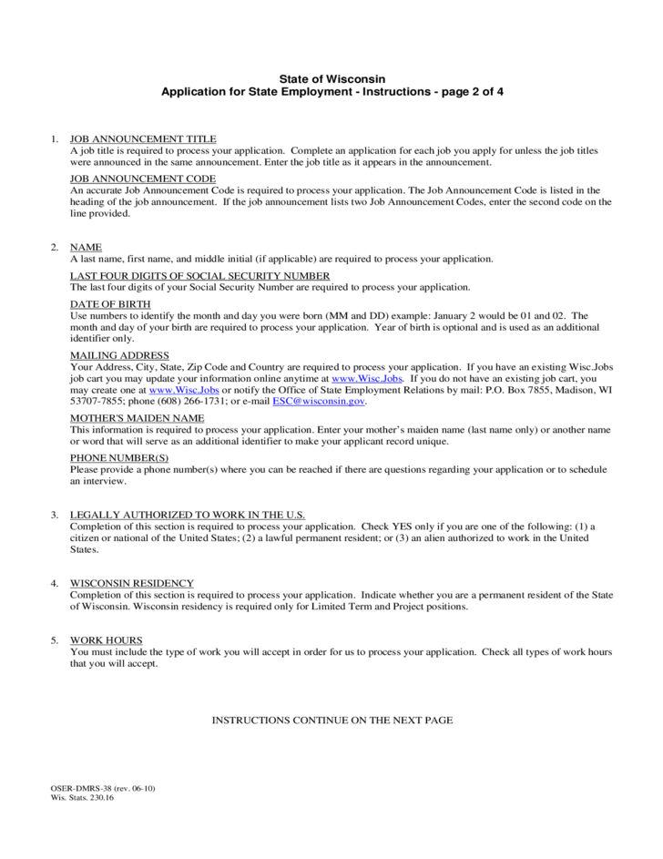 Application for Employment - Wisconsin