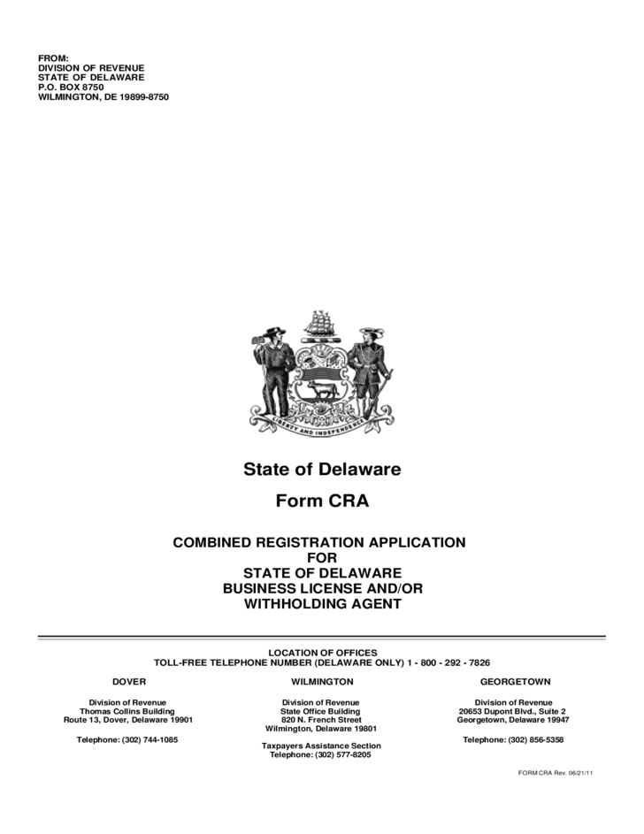 Form CRA - Combined Registration Application for State of Delaware