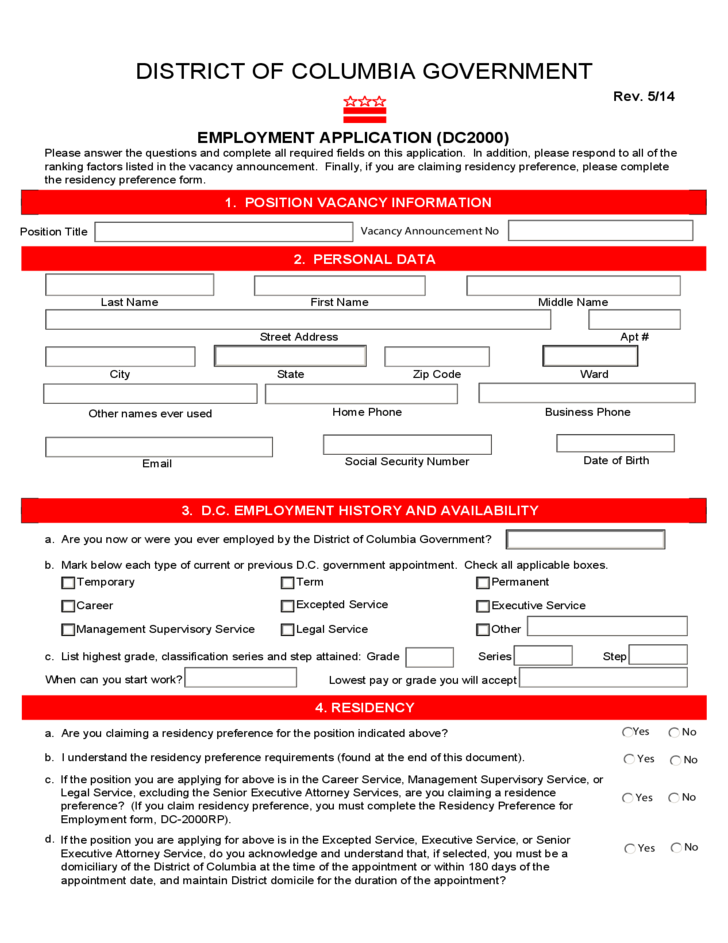 Employment Application DC2000 - The District of Columbia
