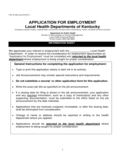 Application for Employment of Local Health Departments of Kentucky