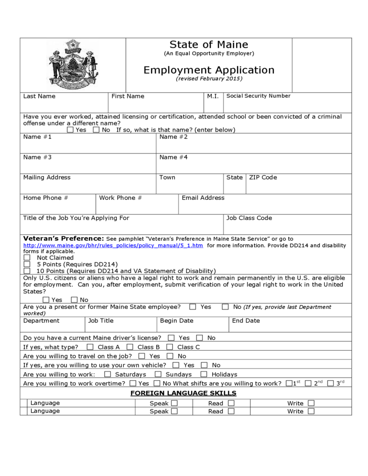 state of maine employment application free download