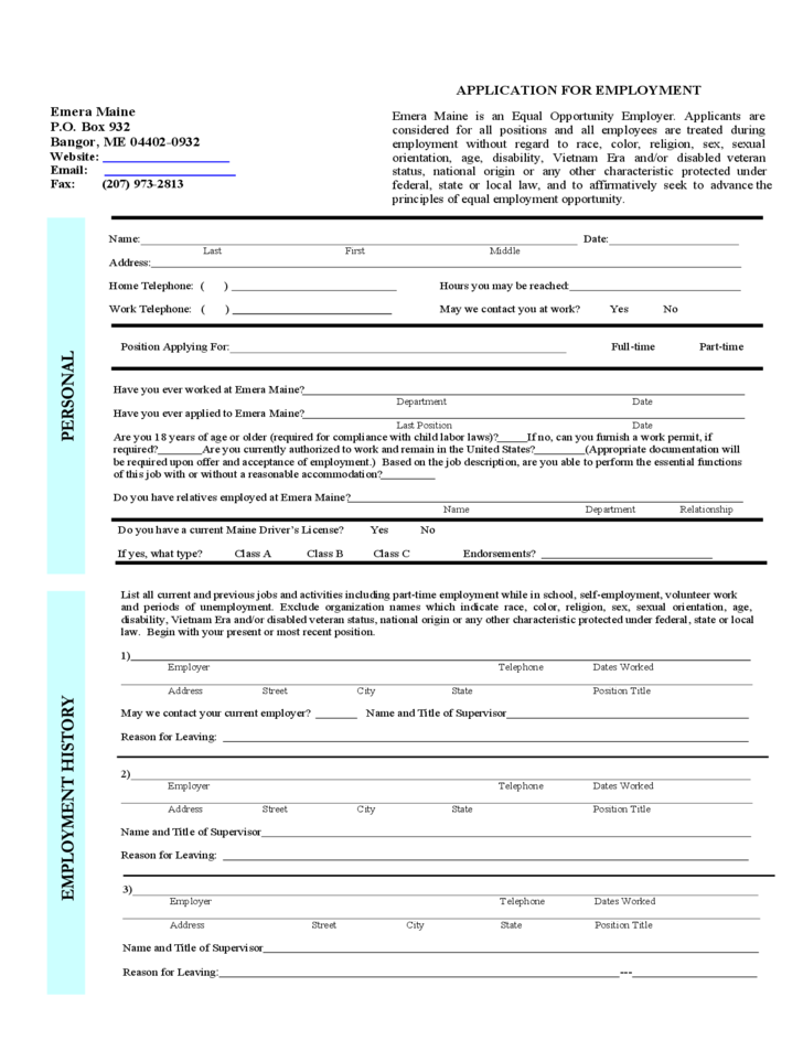 application for employment of emera maine free download